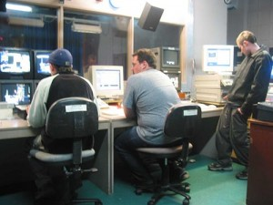 Part of the Channel 9 control area. From left to right - Barry, Dan, and Wayne.