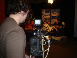 Callum shoots some live studio stuff on Cow TV.