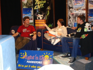 Then OUSA Social Activities President Rob McCann joins Helen and Hamish on the couch in mid 2005.