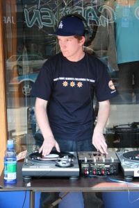 Joe during one of his video events for Cow... Busking DJ.