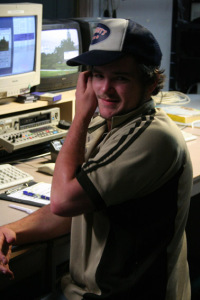 Callum Macdonald takes a break from the VT and graphics desk to pose for a photo.