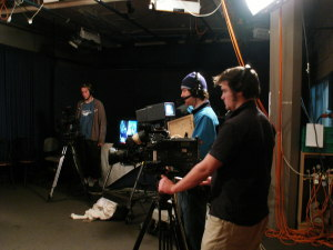 Some of the CowTV crew shooing. From L to R, Ryan McMahon, Ivan Larsen, Callum Macdonald.